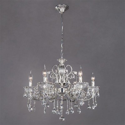 Люстра Bogateapos;s 230/6 StrotskisПодвесные<br><br><br>Установка на натяжной потолок: Да<br>S освещ. до, м2: 18<br>Крепление: Крюк<br>Тип товара: Люстра<br>Тип лампы: Накаливания / энергосбережения / светодиодная<br>Тип цоколя: E14<br>Количество ламп: 6<br>MAX мощность ламп, Вт: 60<br>Диаметр, мм мм: 680<br>Высота, мм: 720 - 1120<br>Цвет арматуры: серебристый