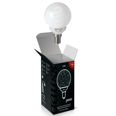 Лампа Gauss 231213 Globe 13W E14 4200KСпиральные<br><br><br>Цветовая t, К: CW - холодный белый 4000 К<br>Тип лампы: Энергосберегающая<br>Тип цоколя: E14<br>Ширина, мм: 60<br>MAX мощность ламп, Вт: 13<br>Выступ, мм: 96