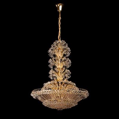 Люстра Chiaro 232013043 ЖемчугПодвесные<br>Описание модели 232013043: Поистине королевский дизайн люстры из коллекции «Жемчуг» достоин лучших дворцовых интерьеров. Изящное металлическое основание окрашено в сияющий золотой цвет. Его дополняет россыпь из множества декоративных хрустальных подвесов, придающих светильнику по-царски величественный и торжественный вид. Он станет богатым украшением классического интерьера и наполнит его многогранными переливами.<br><br>Установка на натяжной потолок: Да<br>S освещ. до, м2: 129<br>Крепление: Крюк<br>Тип лампы: накаливания / энергосбережения / LED-светодиодная<br>Тип цоколя: E14<br>Количество ламп: 43<br>MAX мощность ламп, Вт: 60<br>Диаметр, мм мм: 1200<br>Длина цепи/провода, мм: 700<br>Высота, мм: 2170<br>Цвет арматуры: золотой