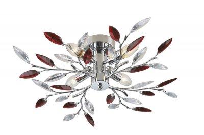 Люстра Lamplandia 234-4 Jeny redПотолочные<br>Современная потолочная люстра в форме нежных веточек и листочков рубинового и прозрачного цвета подарит уют вашей комнате.<br><br>Установка на натяжной потолок: Ограничено<br>S освещ. до, м2: 10<br>Крепление: Планка<br>Тип лампы: накаливания / энергосбережения / LED-светодиодная<br>Тип цоколя: E14<br>Количество ламп: 4<br>MAX мощность ламп, Вт: 40<br>Диаметр, мм мм: 600<br>Высота, мм: 150<br>Цвет арматуры: серебристый