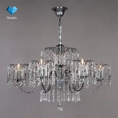 Люстра Bogateapos;s 239/6 StrotskisПодвесные<br><br><br>Установка на натяжной потолок: Да<br>S освещ. до, м2: 18<br>Крепление: Крюк<br>Тип товара: Люстра<br>Тип лампы: Накаливания / энергосбережения / светодиодная<br>Тип цоколя: E14<br>Количество ламп: 6<br>MAX мощность ламп, Вт: 60<br>Диаметр, мм мм: 720<br>Высота, мм: 680 - 980<br>Цвет арматуры: серебристый