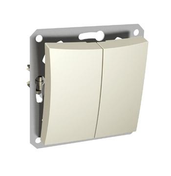 Lexel Дуэт бежевый Двухклавишный выключатель (сх.5) с подсветкой (SE WDE000253)Бежевый<br><br><br>Оттенок (цвет): бежевый