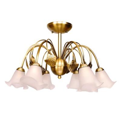 Люстра Mw light 256015506 ФлораПотолочные<br>Металлическое основание цвета бронзы, плафоны из стекла.<br><br>Установка на натяжной потолок: Да<br>S освещ. до, м2: 18<br>Крепление: Планка<br>Тип лампы: накаливания / энергосбережения / LED-светодиодная<br>Тип цоколя: E14<br>Цвет арматуры: бронзовый<br>Количество ламп: 6<br>Диаметр, мм мм: 640<br>Высота, мм: 370<br>MAX мощность ламп, Вт: 60<br>Общая мощность, Вт: 360