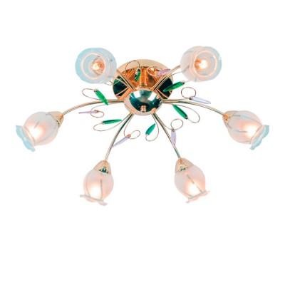 Люстра De markt 261015806 ОлимпияПотолочные<br>Металлическое основание цвета золота, стеклянные плафоны, декоративные элементы из хрусталя.<br><br>S освещ. до, м2: 18<br>Тип товара: Люстра<br>Тип лампы: накаливания / энергосбережения / LED-светодиодная<br>Тип цоколя: E14<br>Количество ламп: 6<br>MAX мощность ламп, Вт: 60<br>Диаметр, мм мм: 700<br>Высота, мм: 250<br>Цвет арматуры: золото
