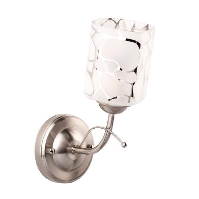 Светильник настенный бра De markt 261029601 ОлимпияСовременные<br>Описание модели 261029601: Расширение легендарной коллекции Олимпия! Стеклянный белый плафон с авангардным гальванизированным рисунком создают привлекательный дизайн и отличное решение оформления интерьеров!<br><br>S освещ. до, м2: 3<br>Тип лампы: накаливания / энергосбережения / LED-светодиодная<br>Тип цоколя: E14<br>Цвет арматуры: серебристый<br>Количество ламп: 1<br>Ширина, мм: 110<br>Длина, мм: 240<br>Высота, мм: 180<br>MAX мощность ламп, Вт: 60