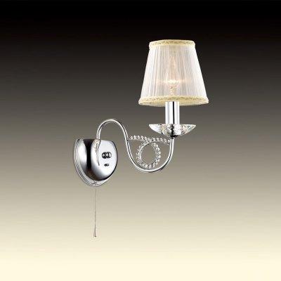 Светильник Odeon light 2611/1WКлассика<br><br><br>S освещ. до, м2: 4<br>Тип цоколя: E14<br>Количество ламп: 1<br>Ширина, мм: 140<br>MAX мощность ламп, Вт: 60<br>Высота, мм: 300<br>Оттенок (цвет): абажур<br>Цвет арматуры: серебристый