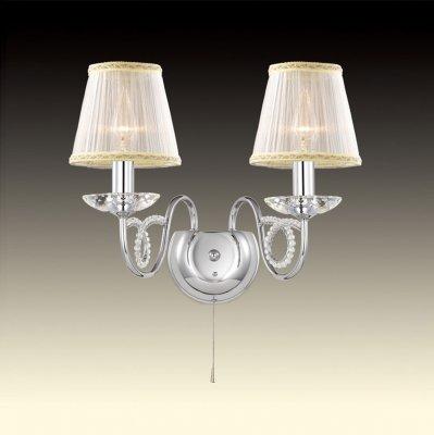Светильник Odeon light 2611/2WКлассические<br><br><br>S освещ. до, м2: 8<br>Тип цоколя: E14<br>Количество ламп: 2<br>Ширина, мм: 450<br>MAX мощность ламп, Вт: 60<br>Высота, мм: 300<br>Оттенок (цвет): абажур<br>Цвет арматуры: серебристый