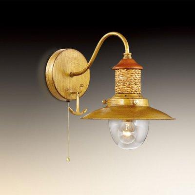 Светильник Odeon light 2617/1WМорской стиль<br><br><br>S освещ. до, м2: 3<br>Тип цоколя: E14<br>Количество ламп: 1<br>Ширина, мм: 220<br>MAX мощность ламп, Вт: 40<br>Высота, мм: 280<br>Цвет арматуры: бронзовый