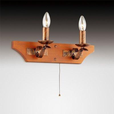 Светильник Odeon light 2618/2WМорской стиль<br>Добавьте в свой интерьер немного «морского дуновения» света! Выберите поистине оригинальный и в тоже время лаконичный светильник нестандартной тематики. К примеру, настенное бра Odeon light 2618/2W, выполненное в морской концепции, которую выигрышно отличает грубая простота, придающая изделию необходимую свободную манерность. Кованные элементы конструкции добавляют ей определённую брутальность и мощь, а детали из натурального дерева смягчают общую композицию. Морской стиль настенного бра Odeon light 2618/2W даст Вам почувствовать отдельное единение с желанной свободой, путешествиями и чем-то порой далёким от будней. Придайте свежести сиянию на просторах собственного интерьера!<br><br>S освещ. до, м2: 6<br>Тип цоколя: E14<br>Количество ламп: 2<br>Ширина, мм: 400<br>MAX мощность ламп, Вт: 40<br>Высота, мм: 180<br>Цвет арматуры: коричневый