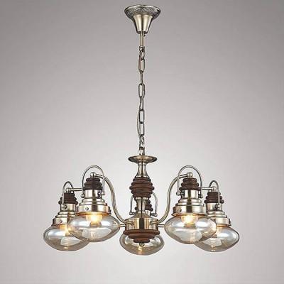 Евросвет 266/5Подвесные<br><br><br>S освещ. до, м2: 15<br>Тип лампы: Накаливания / энергосбережения / светодиодная<br>Тип цоколя: E27<br>Количество ламп: 5<br>MAX мощность ламп, Вт: 60<br>Диаметр, мм мм: 620<br>Высота, мм: 330<br>Цвет арматуры: бронзовый
