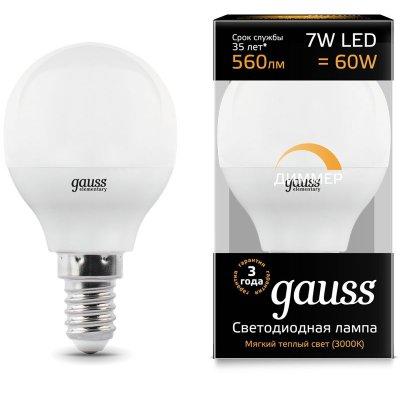 Лампа Gauss LED Шар-dim E14 7W 560lm 3000К диммируемая 1/10/100