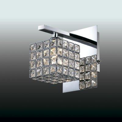 Настенный светильник odeon light 2709/1W ULFAХрустальные<br><br><br>S освещ. до, м2: 2<br>Тип лампы: галогенная / LED-светодиодная<br>Тип цоколя: G9<br>Количество ламп: 1<br>Ширина, мм: 110<br>MAX мощность ламп, Вт: 40<br>Расстояние от стены, мм: 155<br>Высота, мм: 150<br>Цвет арматуры: серебристый