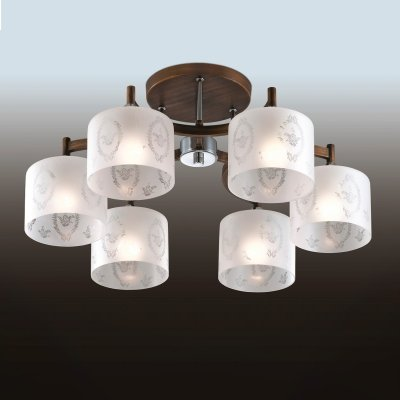 Люстра odeon light 2759/6C RUNITAПотолочные<br><br><br>Установка на натяжной потолок: Да<br>S освещ. до, м2: 24<br>Крепление: Планка<br>Тип товара: Люстра<br>Тип лампы: накаливания / энергосбережения / LED-светодиодная<br>Тип цоколя: E27<br>Количество ламп: 6<br>MAX мощность ламп, Вт: 60<br>Диаметр, мм мм: 640<br>Высота, мм: 310<br>Цвет арматуры: коричневый