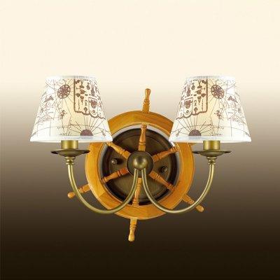 Настенный светильник odeon light 2769/2W ROTARМорской стиль<br><br><br>S освещ. до, м2: 5<br>Тип лампы: накаливания / энергосбережения / LED-светодиодная<br>Тип цоколя: E14<br>Количество ламп: 2<br>Ширина, мм: 400<br>MAX мощность ламп, Вт: 40<br>Расстояние от стены, мм: 230<br>Высота, мм: 270<br>Цвет арматуры: бронзовый