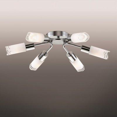 Люстра odeon light 2789/6C METIKOПотолочные<br><br><br>Установка на натяжной потолок: Ограничено<br>S освещ. до, м2: 16<br>Крепление: Планка<br>Тип товара: Люстра<br>Тип лампы: накаливания / энергосбережения / LED-светодиодная<br>Тип цоколя: E14<br>Количество ламп: 6<br>MAX мощность ламп, Вт: 40<br>Диаметр, мм мм: 490<br>Высота, мм: 110<br>Цвет арматуры: серебристый