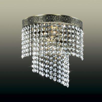 Настенный светильник odeon light 2809/2W ERMINAХрустальные<br><br><br>S освещ. до, м2: 8<br>Тип товара: Светильник настенный бра<br>Скидка, %: 41<br>Тип лампы: накаливания / энергосбережения / LED-светодиодная<br>Тип цоколя: E14<br>Количество ламп: 2<br>Ширина, мм: 230<br>MAX мощность ламп, Вт: 60<br>Расстояние от стены, мм: 180<br>Высота, мм: 250<br>Цвет арматуры: бронзовый