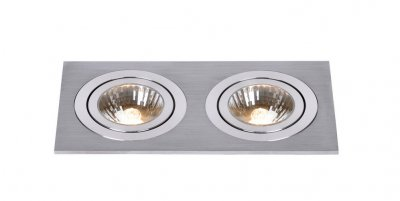 Lucide 28901/02/12 CHATTYСветильники даунлайты<br><br><br>Тип лампы: галогенная<br>Тип цоколя: GU10<br>Цвет арматуры: серебристый<br>Количество ламп: 2<br>Ширина, мм: 90<br>Длина, мм: 180<br>MAX мощность ламп, Вт: 50