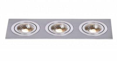 Lucide 28901/03/12 CHATTYСветильники даунлайты<br><br><br>Тип лампы: галогенная<br>Тип цоколя: GU10<br>Цвет арматуры: серебристый<br>Количество ламп: 3<br>Ширина, мм: 90<br>Длина, мм: 270<br>MAX мощность ламп, Вт: 50