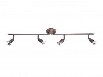 Светильник Brilliant G28932/56 KosС 4 лампами<br><br><br>S освещ. до, м2: 13<br>Тип товара: Светильник поворотный спот<br>Тип лампы: галогенная / LED-светодиодная<br>Тип цоколя: GU10<br>Количество ламп: 4<br>Ширина, мм: 900<br>MAX мощность ламп, Вт: 50<br>Цвет арматуры: коричневый
