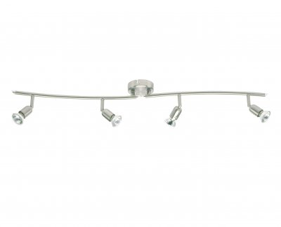 Светильник Brilliant G28940/13 KosС 4 лампами<br>Зачастую мы ищем идеальное освещение для своего дома и уделяем этому достаточно много времени. Так, например, если нам нужен светильник с количеством ламп - 4! То нам, как вариант, подойдет модель - система спотов Brilliant G28940/13.<br><br>S освещ. до, м2: 13<br>Тип лампы: галогенная / LED-светодиодная<br>Тип цоколя: GU10<br>Цвет арматуры: серебристый<br>Количество ламп: 4<br>Ширина, мм: 930<br>MAX мощность ламп, Вт: 50
