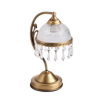 Настольная лампа Mw light 295036701 АнгелКлассические<br>Описание модели 295036701: Образец безупречности форм, декора и цветового решения – это, несомненно, настольная лампа из коллекции «Ангел». Ее парадный, торжественный стиль невозможно оставить без внимания: царски изогнутый рожок венчается плафоном, направленными вниз в виде античной чаши. Выполненный из матового стекла и декорированный металлической каймой из латуни с орнаментальным рисунком, он гармонично сочетаются с основанием из латуни, благодаря чему создается аристократичный, солидный дуэт, способный при этом, освежить и оживить обстановку. Особый шик этой модели придают крупные ромбовидные хрустальные подвески, выполненные из хрусталя высочайшего качества, что еще раз подчеркивает подлинную роскошь этой настольной лампы. Рекомендуемая площадь освещения порядка 3 кв.м.<br><br>S освещ. до, м2: 3<br>Тип лампы: накал-я - энергосбер-я<br>Тип цоколя: E27<br>Количество ламп: 1<br>Ширина, мм: 160<br>MAX мощность ламп, Вт: 60<br>Длина, мм: 200<br>Высота, мм: 340<br>Поверхность арматуры: глянцевый<br>Цвет арматуры: латунь<br>Общая мощность, Вт: 60