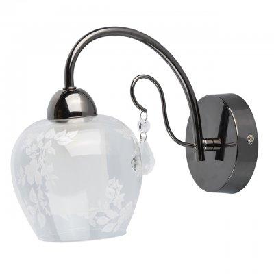 Светильник настенный бра Mw light 297023001 Мечтасовременные бра модерн<br>Описание модели 297023001: Стиль, динамичность, изысканный дизайн – всё это сочетается в бра из коллекции «Мечта». Металлическое основание окрашено в цвет никеля. Именно это придает светильнику неповторимую динамику и современность.  Необычный дуэт создает соседство благородного оттенка  никеля и классического оформления остальных деталей.  Но главная изюминка – это нестандартный, двойной плафон. Внешний плафон округлой формы сделан из прозрачного стекла и  декорирован растительным трафаретным рисунком белого цвета. Внутренний  матовый плафон четкой цилиндрической формы придает особый шик, декорирует патрон светильника и создает мягкое распределение светового потока. Рекомендуемая площадь освещения – 3 кв.м.