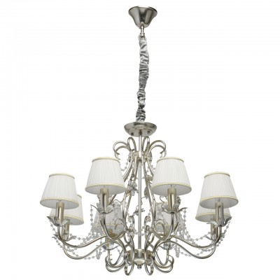 Светильник CHIARO 299011608Подвесные<br><br><br>Тип лампы: Накаливания / энергосбережения / светодиодная<br>Тип цоколя: E14<br>Цвет арматуры: серебристый<br>Количество ламп: 8<br>Диаметр, мм мм: 800<br>Высота полная, мм: 1400<br>Высота, мм: 800<br>MAX мощность ламп, Вт: 40