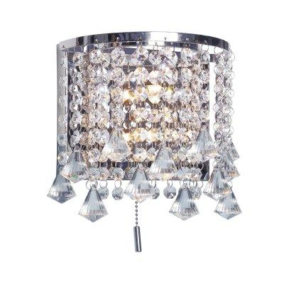 Бра Диамант 3-2093-2-CR-LED G4 МаксисветОжидается<br>Бра МАКСИСВЕТ из коллекции Диамант с хрустальными подвесками и светодиодной подсветкой белого цвета. Общая мощность освещения 40 Вт.<br><br>S освещ. до, м2: 2<br>Тип цоколя: G4<br>Цвет арматуры: Хром<br>Количество ламп: 2<br>Ширина, мм: 130<br>Высота полная, мм: 240<br>Длина, мм: 205<br>Оттенок (цвет): Прозрачный