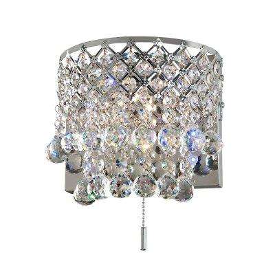 Бра Диамант 3-2521-2-CR-LED G4 МаксисветОжидается<br>Бра МАКСИСВЕТ из коллекции Диамант с декором их хрусталя и металлическим каркасом и светодиодной подсветкой белого цвета. Общая мощность 40 Вт.<br><br>S освещ. до, м2: 2<br>Тип цоколя: G4<br>Цвет арматуры: Хром<br>Количество ламп: 2<br>Ширина, мм: 135<br>Высота полная, мм: 250<br>Длина, мм: 240<br>Оттенок (цвет): Хром