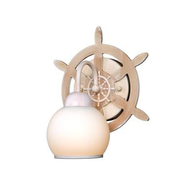 Бра штурвал 3-3310-1-DGRY E27 Максисветбра в морском стиле<br>Следуя модной тенденции брутальности в интерьере, наша коллекция пополнилась серией светильников-штурвалов.<br>Люстры и бра доступны в двух цветовых решениях: беленый дуб и венге.<br>Белые матовые плафоны имеют кайму повторяющий цвет каркаса, особенно выигрышно они смотрятся при включенном свете.<br>Неоспоримым преимуществом перед конкурентами, имеющими аналогичный ассортимент, является доступная цена.<br>Светильники будут востребованы не только для оформления кабинетов, холлов, гостиных, но и детских комнатах, оформленных в морском стиле.<br>Стилевые решения интерьера: морской стиль, контемпорари, фьюжн, экостиль.<br>Тип помещения: холл, детская, спальная.<br><br>S освещ. до, м2: 3<br>Тип лампы: Накаливания / энергосбережения / светодиодная<br>Тип цоколя: E27<br>Цвет арматуры: Бежевый<br>Количество ламп: 1<br>Ширина, мм: 180<br>Высота полная, мм: 280<br>Длина, мм: 240<br>Поверхность арматуры: матовая<br>Оттенок (цвет): Белый<br>MAX мощность ламп, Вт: 60