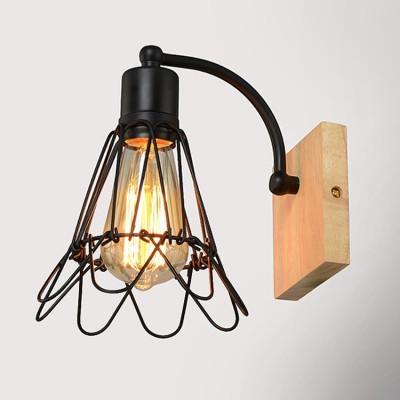 Бра Loft 3-3397-1-WOOD Максисветбра в стиле лофт<br><br><br>Тип лампы: Накаливания / энергосбережения / светодиодная<br>Тип цоколя: E27<br>Цвет арматуры: черный<br>Количество ламп: 1<br>Ширина, мм: 110<br>Расстояние от стены, мм: 186<br>Высота, мм: 215<br>Поверхность арматуры: блестящая<br>Оттенок (цвет): черный<br>MAX мощность ламп, Вт: 60