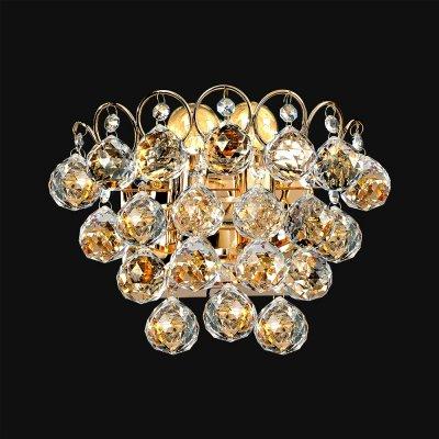Бра Хрусталь 3-8686-2-FG E14 МаксисветОжидается<br><br><br>S освещ. до, м2: 6<br>Тип цоколя: E14<br>Цвет арматуры: Золото<br>Количество ламп: 2<br>Ширина, мм: 140<br>Высота полная, мм: 200<br>Длина, мм: 250<br>Оттенок (цвет): Прозрачный