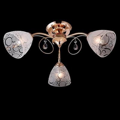 Светильник Евросвет 30013/3 золотоПотолочные<br><br><br>S освещ. до, м2: 9<br>Тип лампы: Накаливания / энергосбережения / светодиодная<br>Тип цоколя: E27<br>Количество ламп: 3<br>MAX мощность ламп, Вт: 60<br>Диаметр, мм мм: 580<br>Высота, мм: 250<br>Цвет арматуры: Золотой