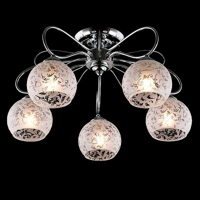 Светильник Евросвет 30044/5 хромПотолочные<br><br><br>S освещ. до, м2: 15<br>Тип лампы: Накаливания / энергосбережения / светодиодная<br>Тип цоколя: E27<br>Количество ламп: 5<br>MAX мощность ламп, Вт: 60<br>Диаметр, мм мм: 520<br>Высота, мм: 290<br>Цвет арматуры: серебристый