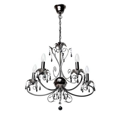 Люстра Mw light 301017005 СвечаПодвесные<br>Описание модели 301017005: Элегантные светильники коллекции «Свеча», стилизованные под старинные люстры, прекрасно подойдут к любому современному интерьеру. Оригинальное металлическое основание окрашено в жемчужно-черный цвет. Чаши, поддерживающие лампы, раскрываются завораживающими черными цветами, украшенными хрустальными подвесками. Сердце люстры — центральный декоративный элемент в виде шара. Весь образ светильника гармоничен и очарователен. Помимо основного потолочного освещения, бра из этой коллекции позволят решить вопрос зонального освещения с тем же изяществом.<br><br>Установка на натяжной потолок: Да<br>S освещ. до, м2: 15<br>Рекомендуемые колбы ламп: свеча / свеча на ветру<br>Крепление: Крюк<br>Тип товара: Люстра<br>Тип лампы: Накаливания / энергосбережения / светодиодная<br>Тип цоколя: E14<br>Количество ламп: 5<br>MAX мощность ламп, Вт: 60<br>Диаметр, мм мм: 550<br>Длина цепи/провода, мм: 250<br>Высота, мм: 900<br>Поверхность арматуры: глянцевый<br>Цвет арматуры: черный<br>Общая мощность, Вт: 300
