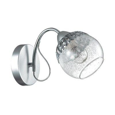 Настенный светильник бра Lumion 3020/1W NEVETTEСовременные<br>Бра 3020/1W серии Nevette оформлена в современном стиле. Светильник состоит из стеклянного прозрачного плафона со стеклянной крошкой и арматуры новомодного цвета никель/хром с металиическим ажурным декором на потолочной чаше. Данная модель завораживает своей холодной изящностью. Цоколь E14. Мощность 1x60W. Нет ламп в комплекте.<br><br>Крепление: Настенное<br>Тип лампы: накаливания / энергосбережения / LED-светодиодная<br>Тип цоколя: E14<br>Количество ламп: 1<br>Ширина, мм: 250<br>MAX мощность ламп, Вт: 60<br>Диаметр, мм мм: 250<br>Длина, мм: 250<br>Высота, мм: 190<br>Цвет арматуры: серебристый