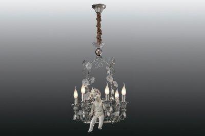 Люстра с ангелом Lamplandia 3033/6 AmurПодвесные<br>Хрустальная люстра, класического стиля с фигурой ангела. Способ крепления: потолочный на цепи. Цвет искуственно патинированный, хром. Материал: патинированный, хром. Обработка хрусталя производиться только машинной обработке, что придает неповторимую игру света, делает грани более четкими. На всех светильниках используются патроны повышенной мощности. Можно использовать лампочки до 40W (Цоколь Е14). Укомплектована, инструкцией на русском языке, перчатки и инструмент для сборки в комплекте. Товар готов для продажи в магазинах DIY<br><br>Установка на натяжной потолок: Да<br>S освещ. до, м2: 16<br>Крепление: Крюк<br>Тип лампы: накаливания / энергосбережения / LED-светодиодная<br>Тип цоколя: E14<br>Количество ламп: 6<br>Ширина, мм: 280<br>MAX мощность ламп, Вт: 40<br>Длина, мм: 530<br>Высота, мм: 890<br>Цвет арматуры: серебристый