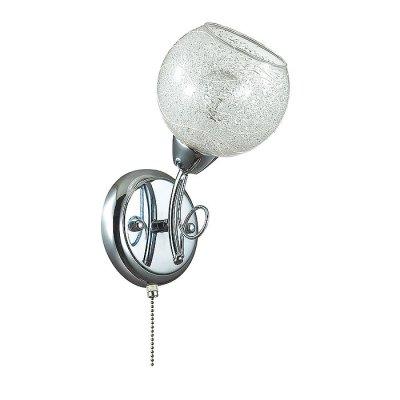 Настенный светильник бра Lumion 3063/1W NEVETTEСовременные<br>Бра 3063/1W серии Nevette оформлена в современном стиле. Светильник состоит из стеклянного прозрачного плафона с легким рисунком, украшенного стеклянной крошкой, и необычной арматуры хромового цвета. Стильная, оригинальная, современная - вот главные качества данной модели. Цоколь E14. Мощность 1x60W. Нет ламп в комплекте.<br><br>Крепление: Настенное<br>Тип лампы: накаливания / энергосбережения / LED-светодиодная<br>Тип цоколя: E14<br>Количество ламп: 1<br>Ширина, мм: 130<br>MAX мощность ламп, Вт: 60<br>Диаметр, мм мм: 170<br>Длина, мм: 170<br>Высота, мм: 250<br>Цвет арматуры: серебристый