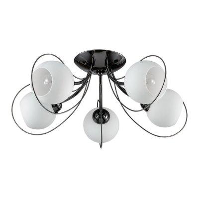 Люстра потолочная Lumion 3083/5C ARIAПотолочные<br>Люстра потолочная 3083/5C серии Aria оформлена в современном стиле. Люстра состоит из круглых белых стеклянных плафонов и причудливой арматуры современного черного глянцевого цвета. При всей своей простоте данная модель имеет очень оригинальный и привлекающий внимание дизайн. Цоколь E14. Мощность 5x40W. Нет ламп в комплекте.<br><br>Установка на натяжной потолок: Да<br>S освещ. до, м2: 10<br>Крепление: Потолочное<br>Тип лампы: накаливания / энергосбережения / LED-светодиодная<br>Тип цоколя: E14<br>Цвет арматуры: черный<br>Количество ламп: 5<br>Ширина, мм: 560<br>Диаметр, мм мм: 560<br>Длина, мм: 560<br>Высота, мм: 230<br>MAX мощность ламп, Вт: 40