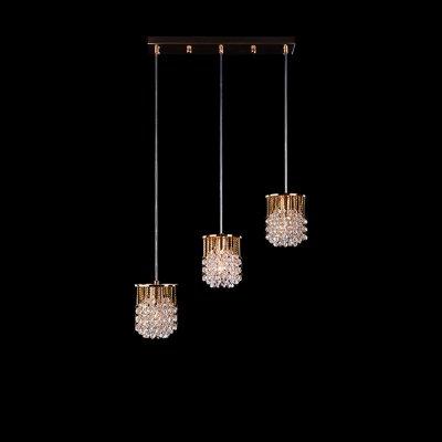 Светильник Eurosvet 3121/3 золото/прозрачный хрустальТройные<br><br><br>Тип товара: Светильник подвесной<br>Тип лампы: накаливания / энергосбережения / LED-светодиодная<br>Тип цоколя: E27<br>Количество ламп: 3<br>Ширина, мм: 110<br>MAX мощность ламп, Вт: 40<br>Длина, мм: 580<br>Высота, мм: 250 - 900<br>Цвет арматуры: золотой