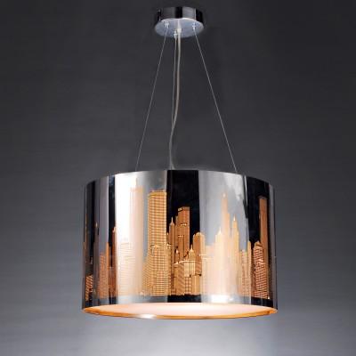 Люстра Lamplandia 3131 Cityподвесные люстры хай тек<br>Современный подвес из металла цвета хром, с перфорированным лазером узором  стилизованного города<br><br>Установка на натяжной потолок: Да<br>S освещ. до, м2: 12<br>Крепление: Планка<br>Тип лампы: накаливания / энергосбережения / LED-светодиодная<br>Тип цоколя: E27<br>Цвет арматуры: серебристый<br>Количество ламп: 3<br>Ширина, мм: 400<br>Длина, мм: 400<br>Высота, мм: 250 - 1500<br>MAX мощность ламп, Вт: 60