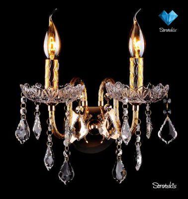 Светильник бра Евросвет 3131/2 золотоХрустальные<br><br><br>S освещ. до, м2: 6<br>Тип лампы: накаливания / энергосбережения / LED-светодиодная<br>Тип цоколя: E14<br>Количество ламп: 2<br>Ширина, мм: 300<br>MAX мощность ламп, Вт: 60<br>Высота, мм: 280<br>Цвет арматуры: золотой