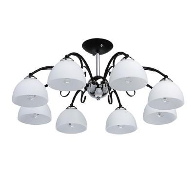 DeMarkt Блеск 315013208 ЛюстраПотолочные<br><br><br>Тип товара: Люстра<br>Тип лампы: Накаливания / энергосбережения / светодиодная<br>Тип цоколя: E27<br>Количество ламп: 8<br>MAX мощность ламп, Вт: 60<br>Диаметр, мм мм: 550<br>Высота, мм: 180<br>Цвет арматуры: черный/серебристый