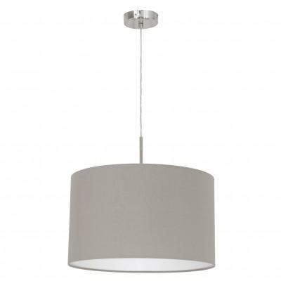 Eglo PASTERI 31572 Текстильные светильникиОдиночные<br><br><br>Тип товара: Текстильные светильники<br>Скидка, %: 11<br>Тип лампы: Накаливания / энергосбережения / светодиодная<br>Тип цоколя: E27<br>MAX мощность ламп, Вт: 2<br>Диаметр, мм мм: 380<br>Размеры основания, мм: 0<br>Высота, мм: 1100<br>Оттенок (цвет): темно-серый<br>Цвет арматуры: серебристый никель<br>Общая мощность, Вт: 1X60W