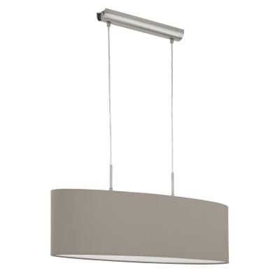 Eglo PASTERI 31581 Текстильный светильникДвойные<br><br><br>Тип товара: Текстильный светильник<br>Скидка, %: 10<br>Тип лампы: Накаливания / энергосбережения / светодиодная<br>Тип цоколя: E27<br>Ширина, мм: 220<br>MAX мощность ламп, Вт: 2<br>Размеры основания, мм: 0<br>Длина, мм: 750<br>Высота, мм: 1100<br>Оттенок (цвет): темно-серый<br>Цвет арматуры: серебристый никель<br>Общая мощность, Вт: 2X60W