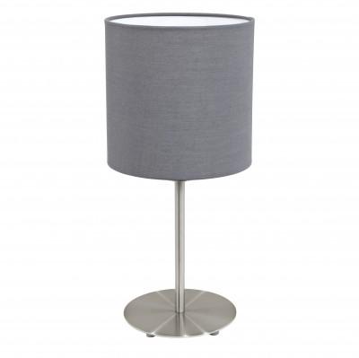 Eglo PASTERI 31596 Текстильный светильникСовременные настольные лампы модерн<br>Настольная лампа – это не просто источник дополнительного освещения, но и оригинальный элемент декора. Его можно установить в спальне, гостиной, кабинете и других комнатах. Интернет-магазин «Светодом» предлагает настольные лампы разных стилей по доступным ценам. Благодаря большому ассортименту Вы обязательно найдете в нашем каталоге именно ту модель, которую искали.   Настольная лампа Eglo 31596 – прекрасный вариант для завершения интерьера. Ее можно включить одновременно с люстрой для более яркого освещения или без нее для создания уютной атмосферы, настраивающей на отдых.   Купить настольную лампу Eglo 31596 Вы можете с помощью виртуальной «Корзины» или по контактным номерам, указанным на сайте.<br><br>Тип цоколя: E27<br>Цвет арматуры: серый<br>Диаметр, мм мм: 180<br>Размеры основания, мм: 0<br>Высота, мм: 400<br>Оттенок (цвет): серый<br>MAX мощность ламп, Вт: 2<br>Общая мощность, Вт: 1X60W