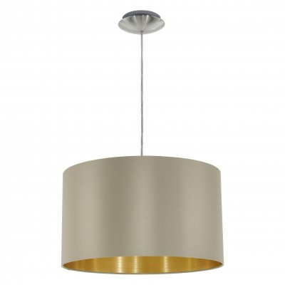 Eglo MASERLO 31602 Текстильный светильникОдиночные<br><br><br>Тип товара: Текстильный светильник<br>Тип лампы: Накаливания / энергосбережения / светодиодная<br>Тип цоколя: E27<br>MAX мощность ламп, Вт: 2<br>Диаметр, мм мм: 380<br>Высота, мм: 1100<br>Оттенок (цвет): серо-коричневый, золотой<br>Цвет арматуры: серебристый никель<br>Общая мощность, Вт: 1X60W