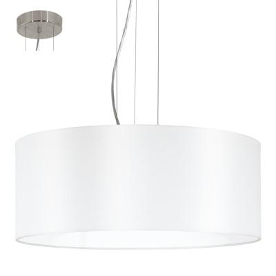 Eglo MASERLO 31604 Текстильный светильникПодвесные<br><br><br>Установка на натяжной потолок: Да<br>S освещ. до, м2: 9<br>Крепление: Крюк<br>Тип товара: Текстильный светильник<br>Тип лампы: Накаливания / энергосбережения / светодиодная<br>Тип цоколя: E27<br>Количество ламп: 3<br>MAX мощность ламп, Вт: 60<br>Диаметр, мм мм: 530<br>Размеры основания, мм: 0<br>Высота, мм: 1100<br>Оттенок (цвет): белый<br>Цвет арматуры: серебристый<br>Общая мощность, Вт: 3X60W