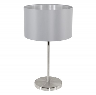 Eglo MASERLO 31628 Текстильный светильникСовременные<br>Настольная лампа – это не просто источник дополнительного освещения, но и оригинальный элемент декора. Его можно установить в спальне, гостиной, кабинете и других комнатах. Интернет-магазин «Светодом» предлагает настольные лампы разных стилей по доступным ценам. Благодаря большому ассортименту Вы обязательно найдете в нашем каталоге именно ту модель, которую искали.   Настольная лампа Eglo 31628 – прекрасный вариант для завершения интерьера. Ее можно включить одновременно с люстрой для более яркого освещения или без нее для создания уютной атмосферы, настраивающей на отдых.   Купить настольную лампу Eglo 31628 Вы можете с помощью виртуальной «Корзины» или по контактным номерам, указанным на сайте.<br><br>Тип цоколя: E27<br>MAX мощность ламп, Вт: 2<br>Диаметр, мм мм: 230<br>Размеры основания, мм: 0<br>Высота, мм: 420<br>Оттенок (цвет): серый, серебряный<br>Цвет арматуры: серый<br>Общая мощность, Вт: 1X60W