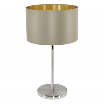 Eglo MASERLO 31629 Текстильный светильникСовременные<br>Настольная лампа – это не просто источник дополнительного освещения, но и оригинальный элемент декора. Его можно установить в спальне, гостиной, кабинете и других комнатах. Интернет-магазин «Светодом» предлагает настольные лампы разных стилей по доступным ценам. Благодаря большому ассортименту Вы обязательно найдете в нашем каталоге именно ту модель, которую искали.   Настольная лампа Eglo 31629 – прекрасный вариант для завершения интерьера. Ее можно включить одновременно с люстрой для более яркого освещения или без нее для создания уютной атмосферы, настраивающей на отдых.   Купить настольную лампу Eglo 31629 Вы можете с помощью виртуальной «Корзины» или по контактным номерам, указанным на сайте.<br><br>Тип лампы: Накаливания / энергосбережения / светодиодная<br>Тип цоколя: E27<br>MAX мощность ламп, Вт: 2<br>Диаметр, мм мм: 230<br>Размеры основания, мм: 0<br>Высота, мм: 420<br>Оттенок (цвет): серо-коричневый, золотой<br>Цвет арматуры: серебристый<br>Общая мощность, Вт: 1X60W
